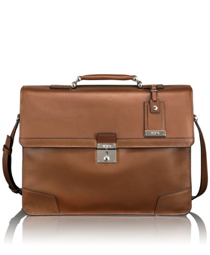Tumi Astor Dorilton Slim Flap Leather Brief, Umber, One Size