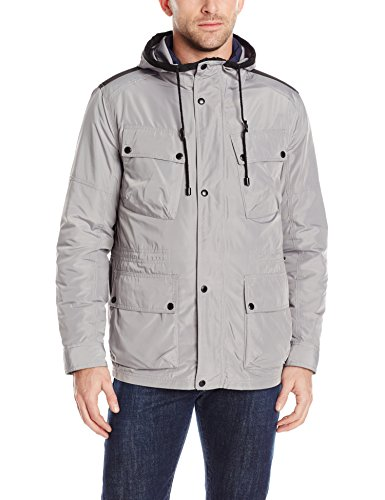 Cole Haan Signature Men's Oxford Nylon 3 In 1 Hooded Parka, Grey, X-Large
