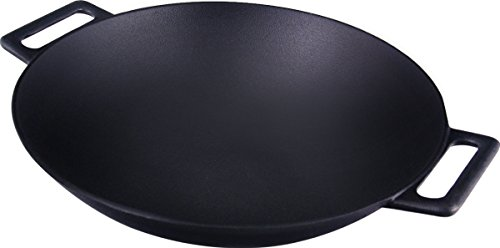 Cast Iron Shallow Concave Wok, Black - by Utopia Kitchen