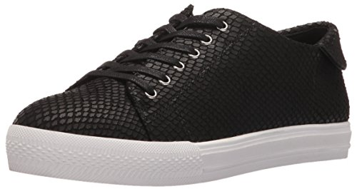 Nine West Women's Patrick Leather Fashion Sneaker, Black Textured, 7 M US