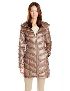 Calvin Klein Women's Mid-Length Packable Chevron Down Coat, Shine Taupe, S