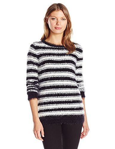 Calvin Klein Women's Striped Eyelash Crew Neck, Black/White El, M