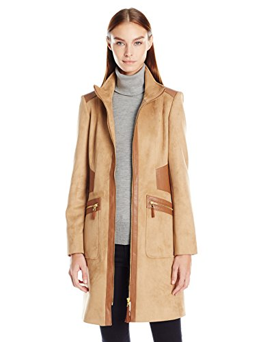 Via Spiga Women's Faux Suede Faux Leather Detail Zip up Coat, Vicuna, X-Small
