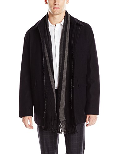 Calvin Klein Men's Wool Scarf Coat, Black, X-Large