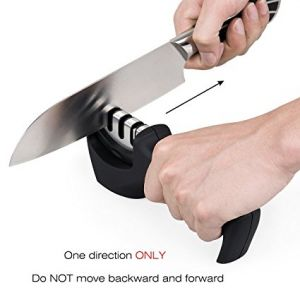 Gelindo 3 Stage Knife Sharpener - Ceramic, Coarse and Fine - Rubberized Base- Best for Combat, Carving, Fillet, Pocket Knives & More