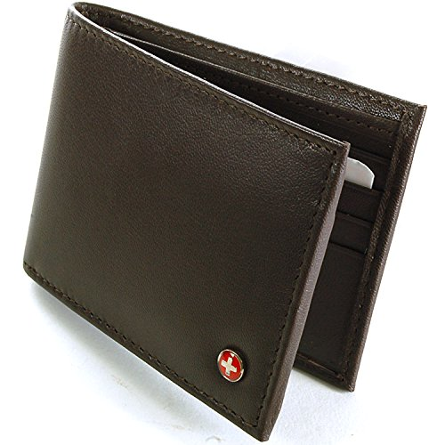Alpine Swiss Men's Genuine Leather Wallet Slim Flip-out Bifold Dark Brown