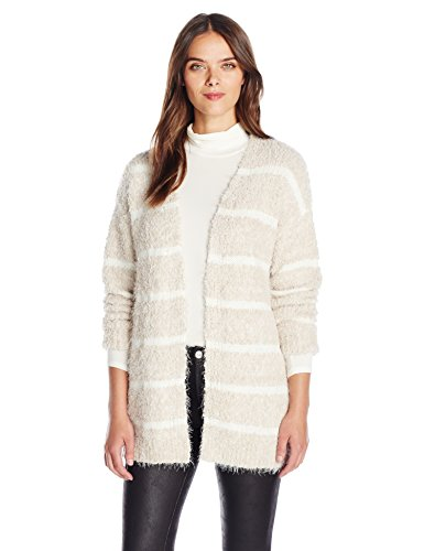 Calvin Klein Women's Eyelash Striped Cardigan, Latte/Multi, Small