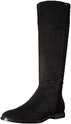 Calvin Klein Women's Donnily Riding Boot, Black Suede, 7.5 M US