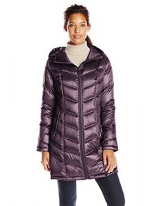 Calvin Klein Women's Mid-Length Packable Chevron Down Coat, Shine Mulberry, XXS