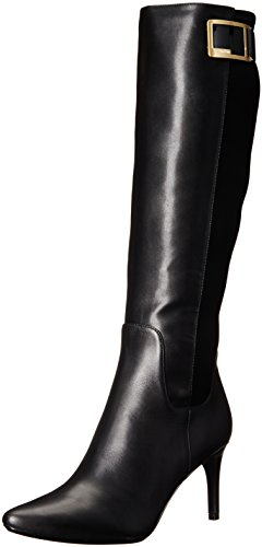 Calvin Klein Women's Jaidia Harness Boot, Black Leather/Neoprene, 7 M US