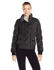 Marc New York Performance Women's Asymmetric Puffer Moto Jacket W/ Zip Off Sleeves, Black, S