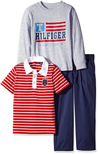 Tommy Hilfiger Little Boys' Toddler Solid Long Sleeve, Polo and Pants Set, Red/Gray, 3T