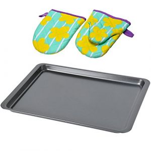 Baking Sheet Tray,Kingstar Non-Stick Oven Trays Cookie Baking Sheets Bakeware Aluminum Pan with Heat Resistant Gloves, 37x25.5cm