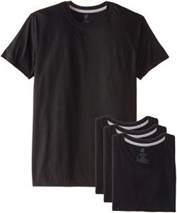Hanes Men's 4 Pack Ultimate Black Slim Fit Crew T-Shirt,Black,Small