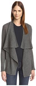Cashmere Addiction Women's Long Sleeve Open Cardigan, Heather Grey, S