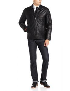 Perry Ellis Men's Lambskin Leather Open Bottom Jacket, Black, Large
