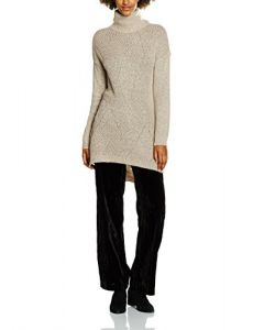 Vero Moda Women's Raven Posh Ls Slit Rollneck Tunic Sweater, Cream Tan, Large